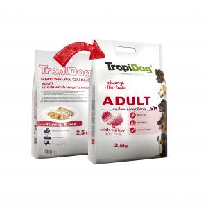 TROPIDOG PREMIUM ADULT MEDIUM&LARGE BREEDS- TURKEY&RICE 2,5kg