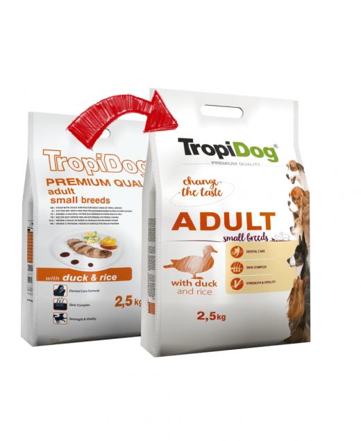 TROPIDOG PREMIUM ADULT SMALL BREEDS- DUCK&RICE 2,5kg