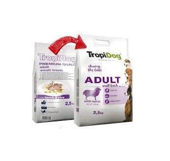 TROPIDOG PREMIUM ADULT SMALL BREEDS- LAMB& RICE 2,5kg