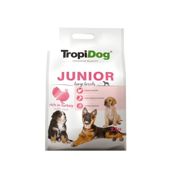 TROPIDOG PREMIUM JUNIOR LARGE BREEDS- RICH IN TURKEY 2,5kg
