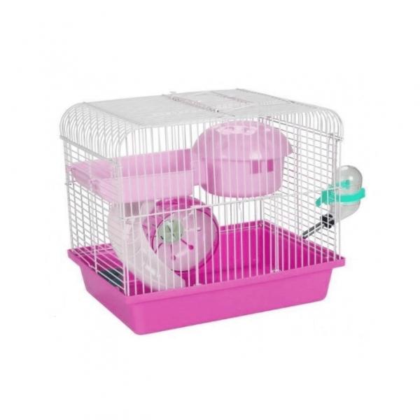 Panama Pet - Klatka z wyposażeniem dla gryzoni 27x20,5x25,5cm Różowa