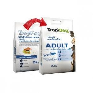 TROPIDOG PREMIUM ADULT MEDIUM/LARGE BREEDS – RICH IN SALMON, WITH RICE 2,5kg