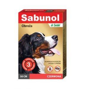 Sabunol czerwona obroża przeciw pchłom i kleszczom dla psa 50 cm