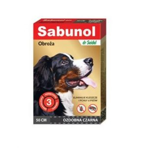Sabunol - ozdobna czarna obroża przeciw pchłom i kleszczom dla psa 50 cm