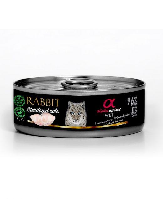 Alpha Spirit dla kotów sterylizowanych królik 85g
